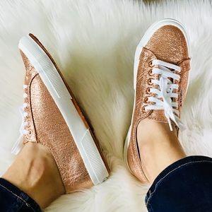 SUPERGA Metallic Rose Gold Lace Up Sneakers